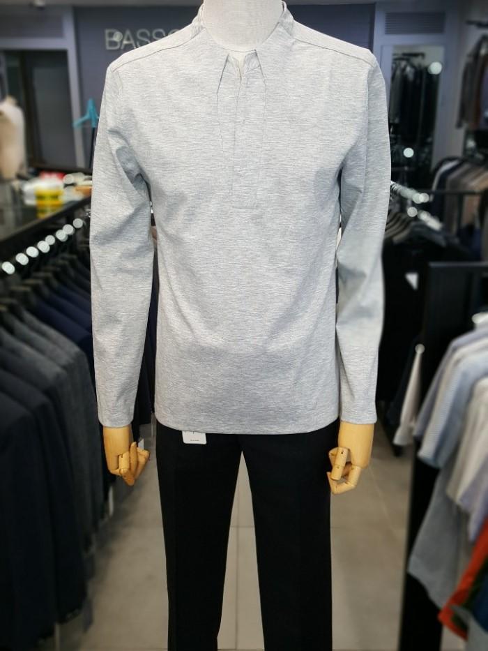 [바쏘옴므] 그레이 변형 브이넥 스판 티셔츠 WSS3KR09AGR