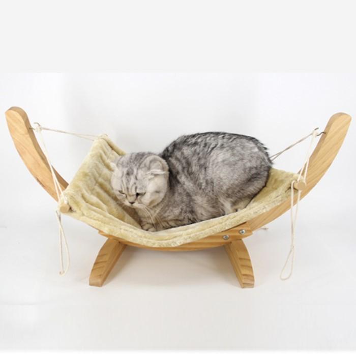 [이에스샵] 고양이 원목 해먹 스윙 침대