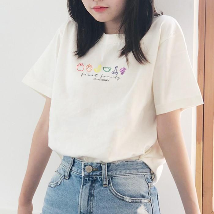 [험블스튜디오] 과일세트 레터링 라운드 반팔 티셔츠 아이보리