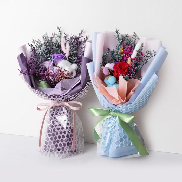 [펀쇼핑친구] 프리저브드 장미 꽃다발 드라이프라워 비누꽃