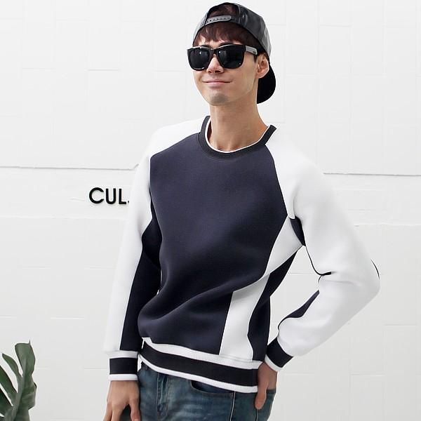 남자 네오프렌 맨투맨 라운드 티셔츠 37 R2 ST 배색 요꼬