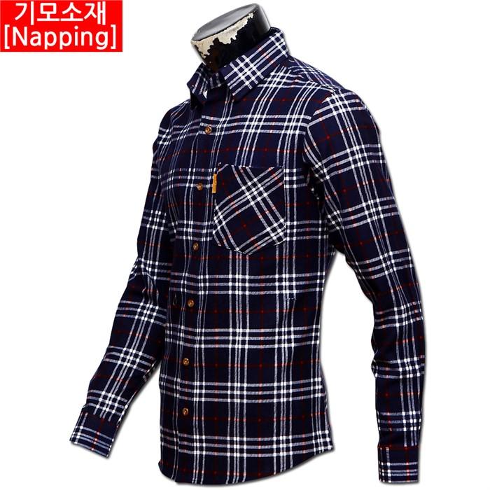 남자 빅사이즈 기모 체크 남방 셔츠 05 MS G#5