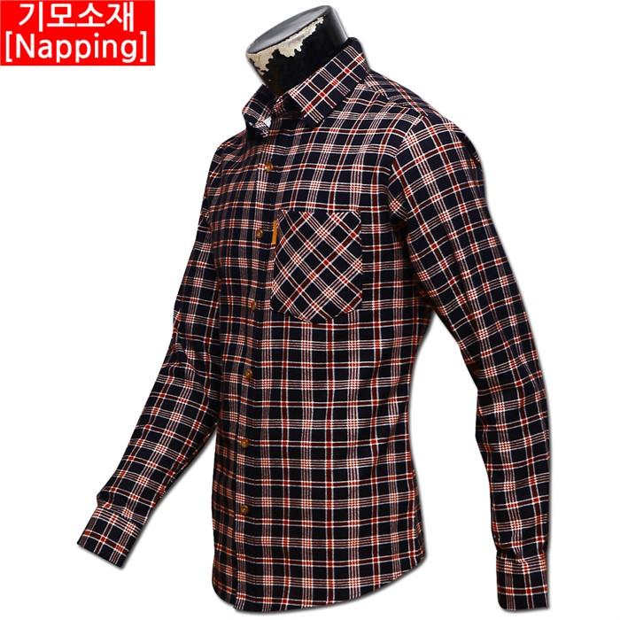 남자 빅사이즈 기모 체크 남방 셔츠 04 MS G#4