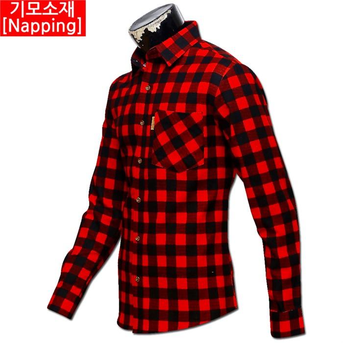 남자 빅사이즈 기모 체크 남방 셔츠 01 MS G#1