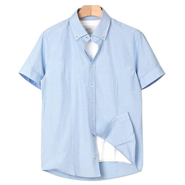 [인스토어넷] 슬림핏 반팔 셔츠 잔체크 블루 INN_205