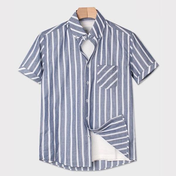 [인스토어넷] 슬림핏 반팔 셔츠 스트라이프 블루 INN_203