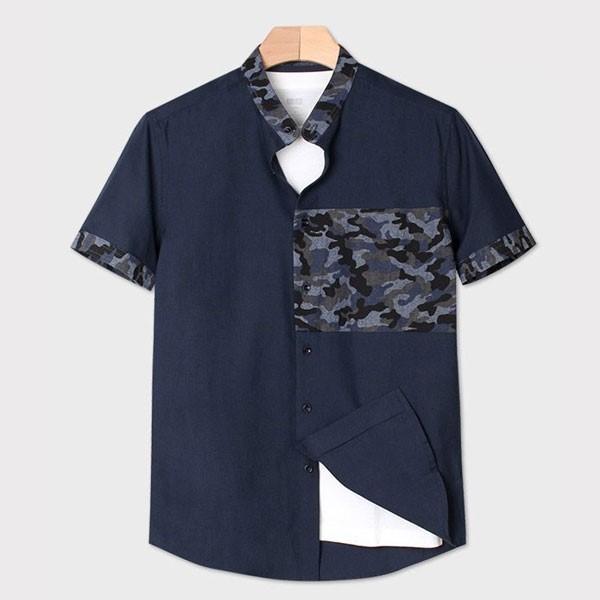 [인스토어넷] 슬림핏 반팔 셔츠 카모플라주 네이비 INN_202