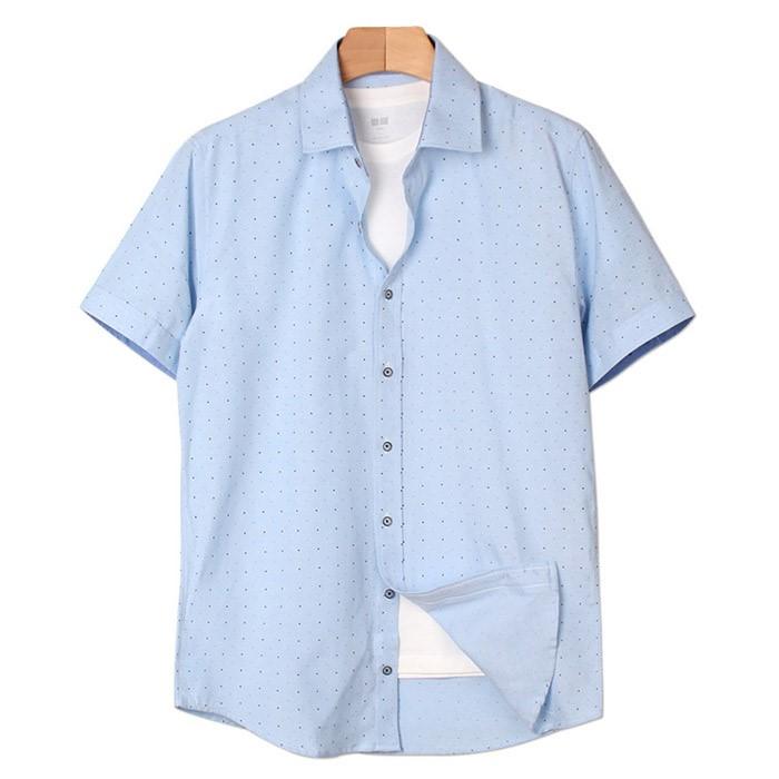 [인스토어넷] 슬림핏 반팔 셔츠 작은도트 블루 INN_212