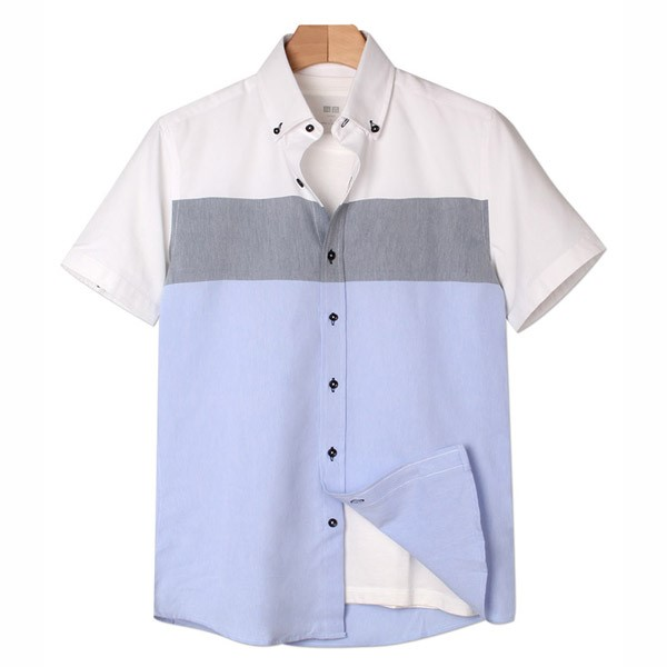 [인스토어넷] 슬림핏 반팔 셔츠 3배색 블루 INN_208
