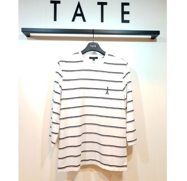 TATE NC02 남성 스트라이프 7부 티셔츠 KA9F7-MKL080