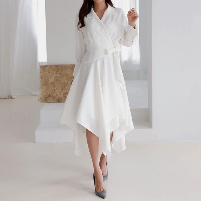 [치콘] 카라넥 에이라인 언발런스 랩원피스 럭셔리 언발란스 드레스 치콘 최애템 인싸템
