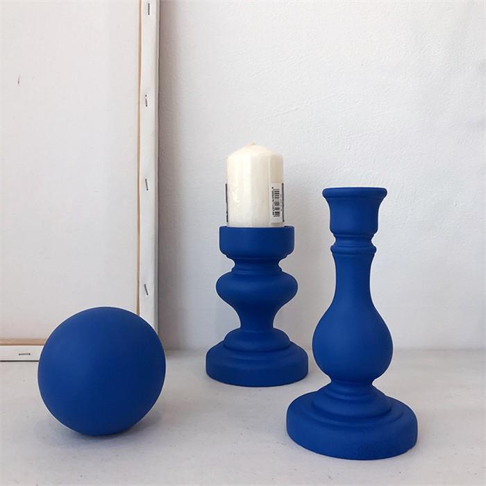 [피우다 (PIUDA)] 블루 우드소품 3종세트(우드볼,나무촛대,필라초홀더,나무공,인테리어소품)
