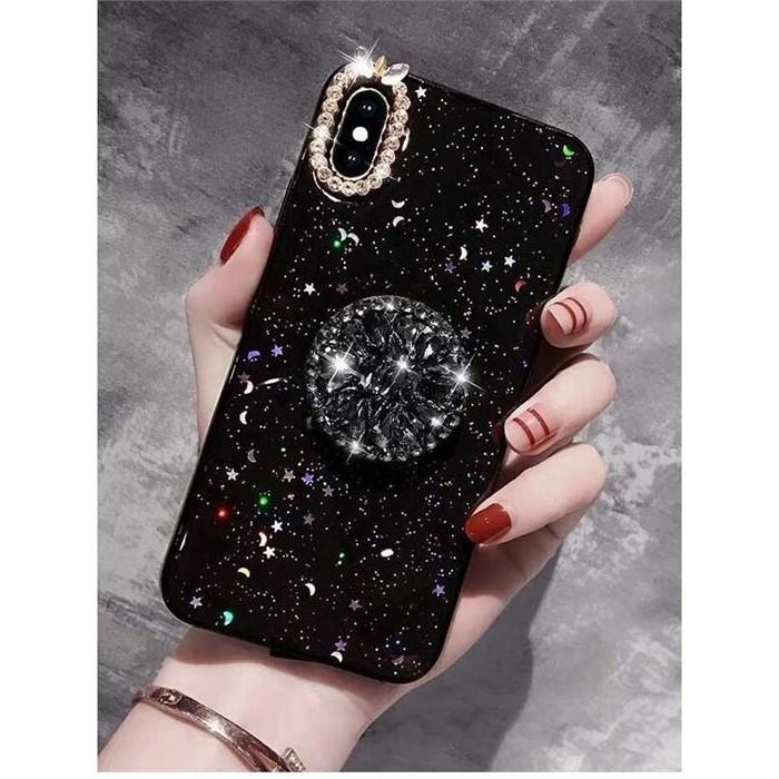 [일루아] 다이아몬드 밀키웨이 스마트톡 아이폰 케이스(투명/블랙)
