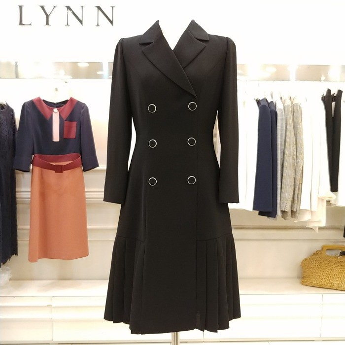 Lynn NC02 린 더블버튼 밑단주름 원피스 LCOPJI0200