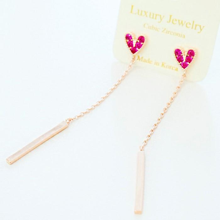 [리본크림]핑크하트 큐빅 롱체인 귀걸이
