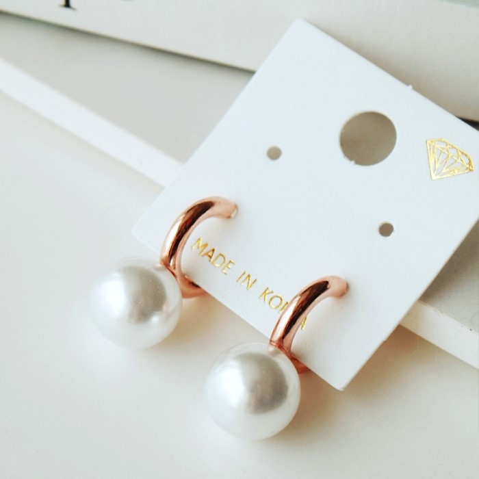 [리본크림] 단아한 진주 원터치 귀걸이 2color