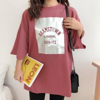 여성티셔츠 오버핏티셔츠 여자반팔티  레깅스코디