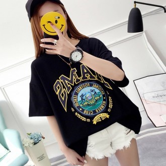 나염프린팅라운드티 여성의류 티셔츠