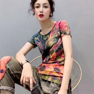 프린트 여성의류 2806 나비프린팅 CESS 티셔츠 한색상