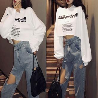 포트레이트크롭티 여성의류 크롭맨투맨 티셔츠