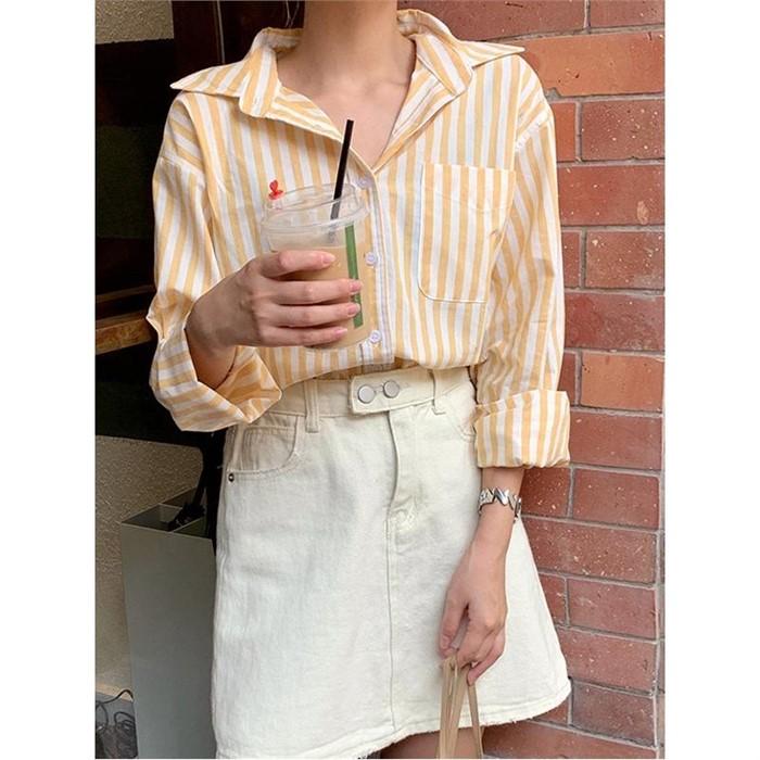 [일루아] 바나나크림 스트라이프 셔츠