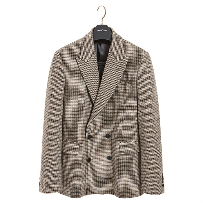 CLASSIC LEATHER LOGO CHECK DOUBLE JACKET BEIGE