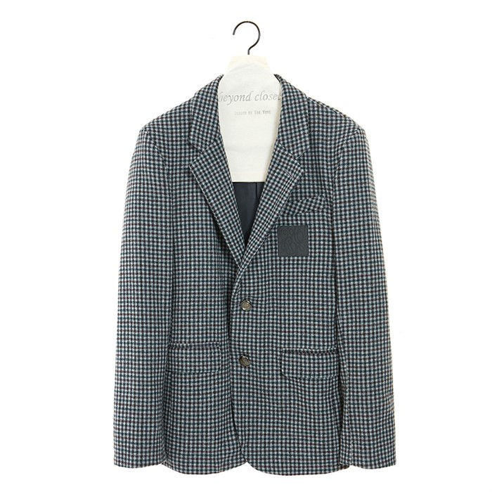 CLASSIC LEATHER LOGO CHECK SINGLE JACKET GRAY