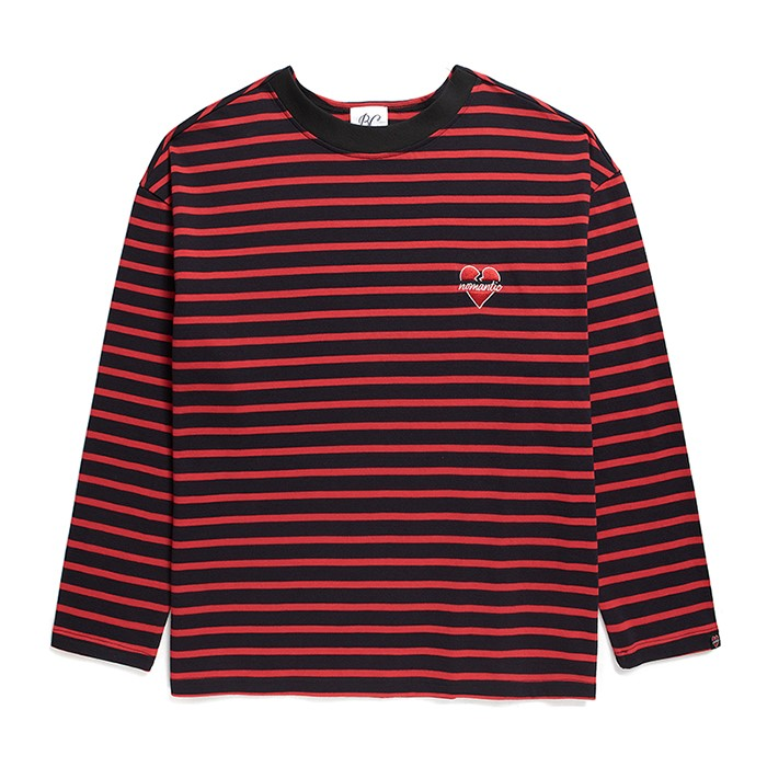 NOMANTIC COMBINATION OVERSIZE STRIPE T-SHIRTS RED