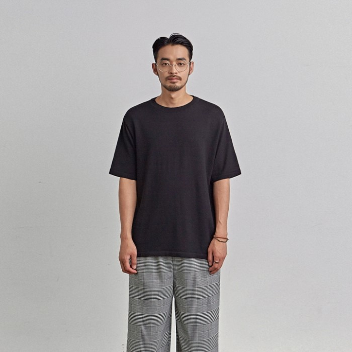 [COUCOU] SOLID KNIT HALF TEE_BLACK