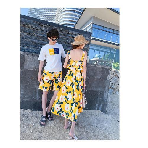 스트랩 드레스 시밀러룩 남녀 바캉스세트 D3010