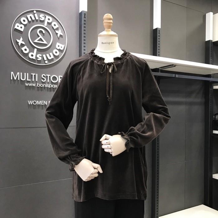 보니스팍스 NC02 셔링리본 벨벳 티셔츠 X32TS070
