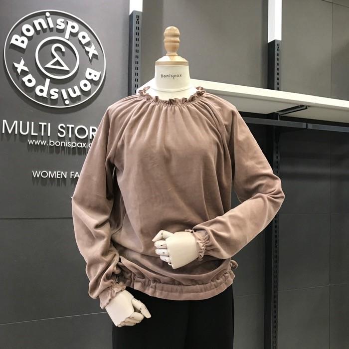 보니스팍스 NC02 셔링 스트링 벨벳 티셔츠 X32TS070