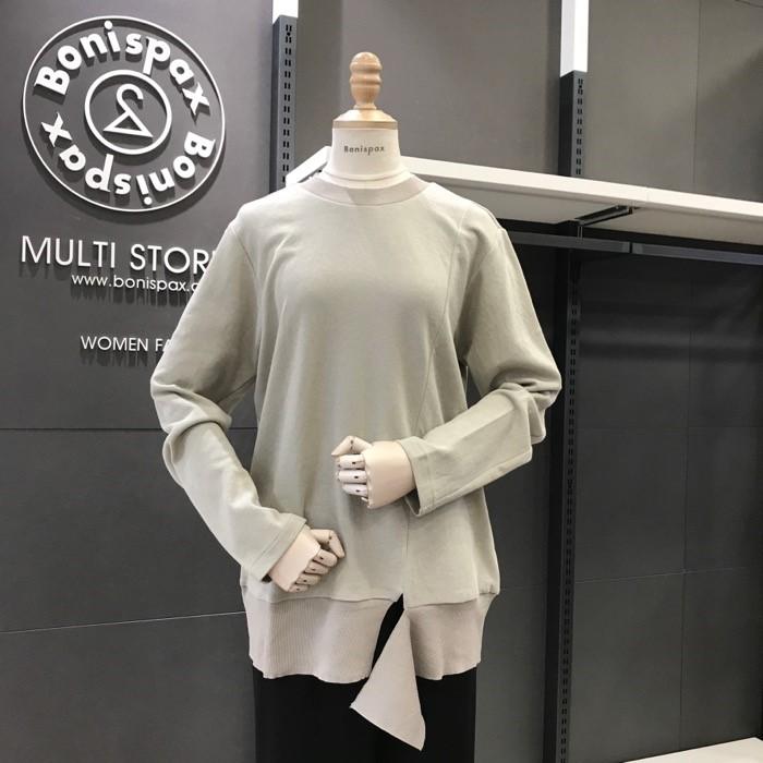 보니스팍스 NC02 니트배색 트임 티셔츠 X32TS030