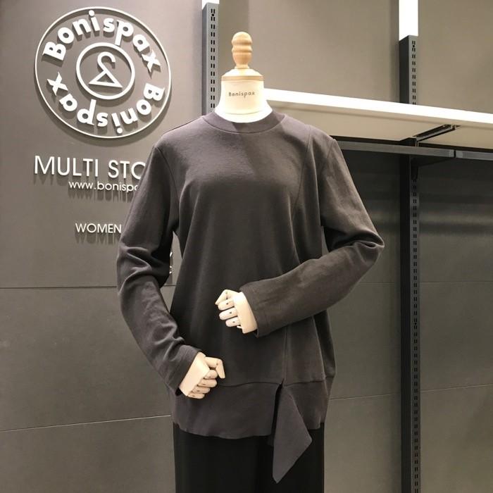 보니스팍스 NC02 니트 배색 트임 티셔츠 X32TS030