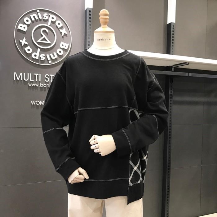 보니스팍스 NC02 체크배색 스티치 티셔츠 X32TS040