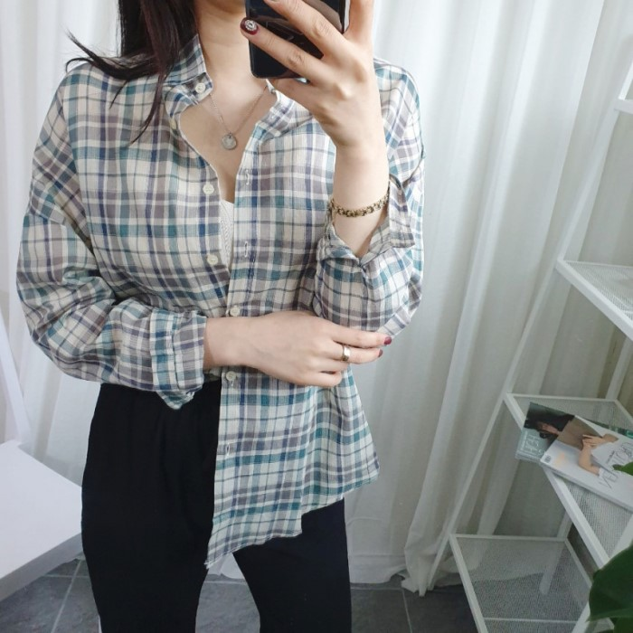 [바이어스] 여자 가을 긴팔 체크남방셔츠
