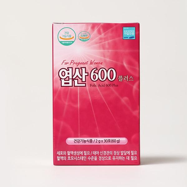 [더붐컴퍼니] [ 엽산600플러스 ] 먹기 편한 분말 엽산 / 석류맛 / 30포 / 1개월분 / 임산부 필수 영양제