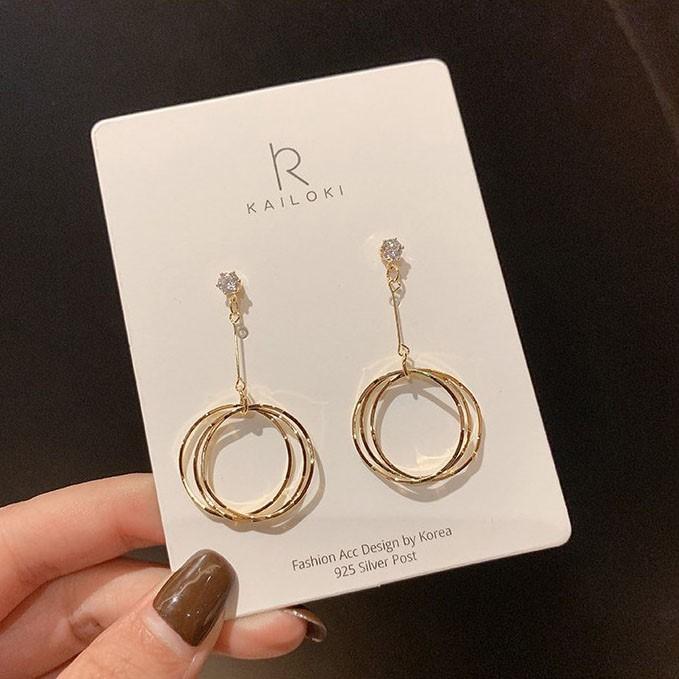 [hiiin] 링 큐빅 드롭 귀걸이