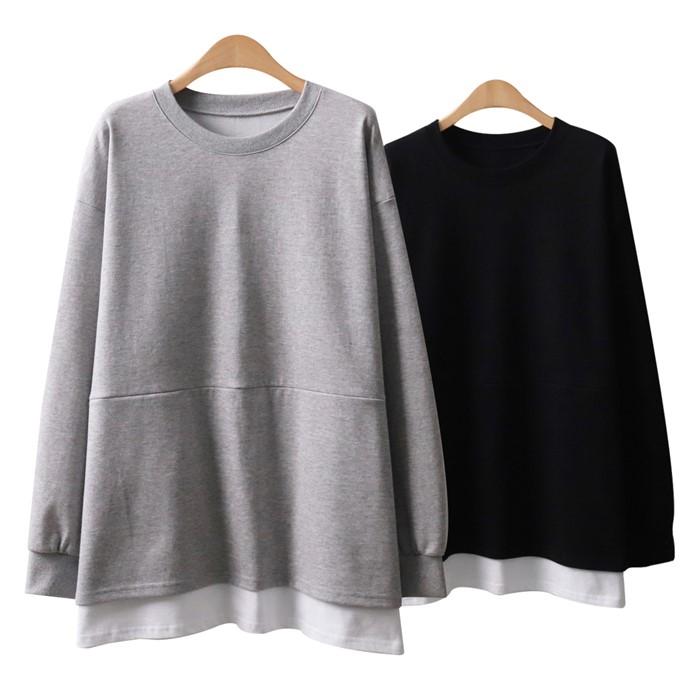 빅사이즈 여성 티셔츠 오버핏 절개 맨투맨 티 H198084