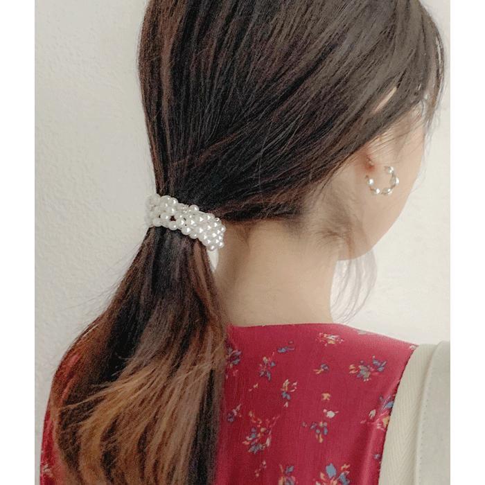 [쓰리템포] 진주알 큐빅 머리끈