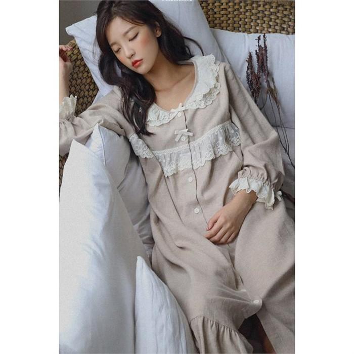 [울랄라/BVB] [달빛] 오가든9 오트밀 원피스 [홈웨어/순면잠옷]