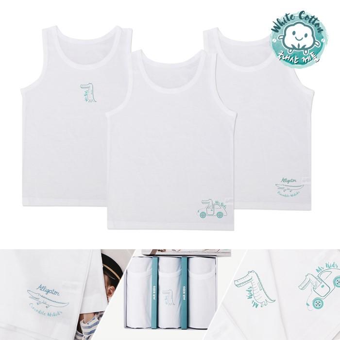 [엠알키즈] 흰색 크로커 남아런닝 KWRSB005 아동 주니어 속옷 3매세트