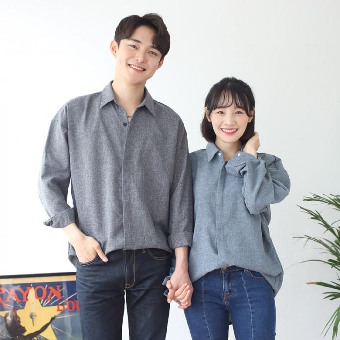 [JFNC] 카치온 히든 버튼 셔츠 커플 긴팔셔츠 sh024