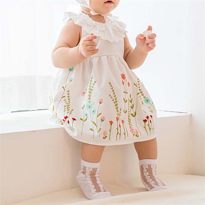 [피우다 (PIUDA)] 봄꽃 레이스 여자아기 원피스 (여아 원피스/출산선물/임신축하선물)