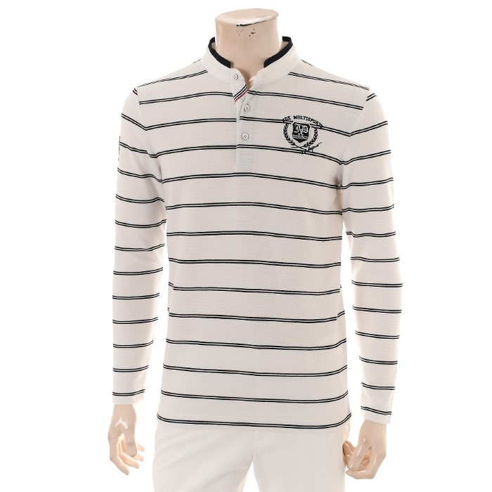 JDX NC02 남성 스트라이프 헨리넥 티셔츠 X2QFTLM08