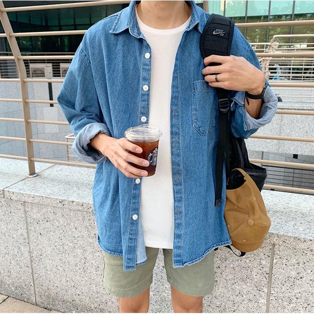 [ZAVINO] 풀 오버핏 청셔츠 자켓 (연청)