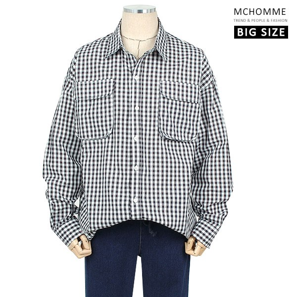 엠씨옴므 빅사이즈(~4XL) 모던스타일 투포켓 포인트 잔체크 남방 셔츠 SH19S107_B