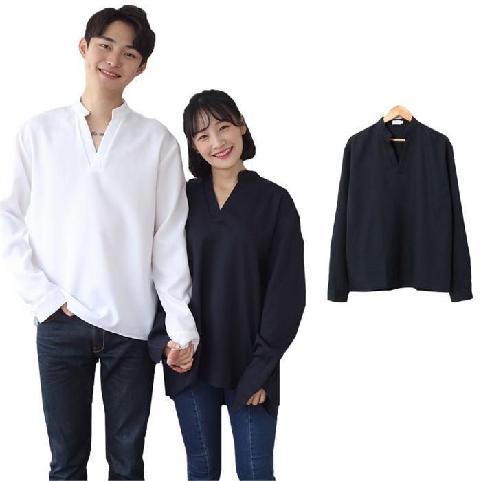 [JFNC] 차이나 V트임 남녀공용 긴팔셔츠 sh023