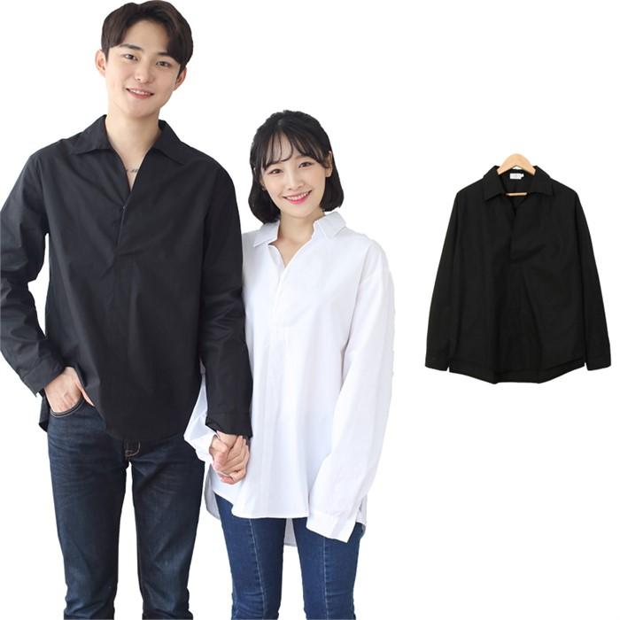 [JFNC] 정해인 무지 오픈카라 남녀공용 긴팔셔츠 sh022