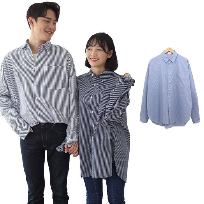 [JFNC] 오버핏 PE 포켓 남녀공용 긴팔셔츠 sh014